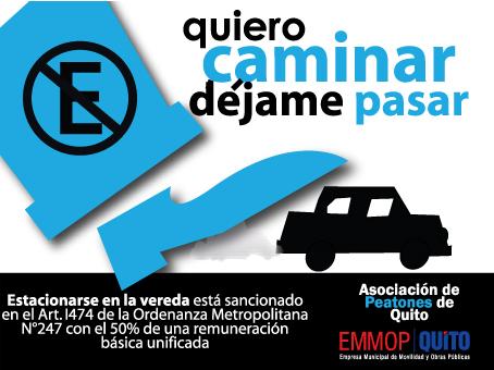 La gracia de esta calcomanía es que está hecha para que los peatones la coloquen en aquellos automóviles que no respetan sus derechos. Otra gran idea de la Asociación de Peatones de Quito que es más efectiva que miles de multas