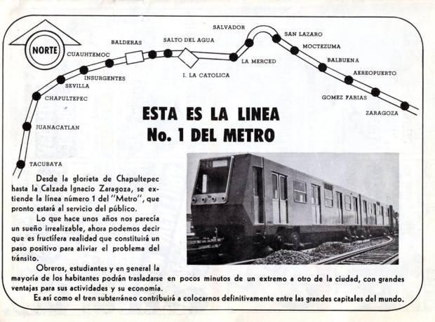 Aviso Línea 1 de Metro ciudad de México. Tomado de página facebook La ciudad de México en el tiempo