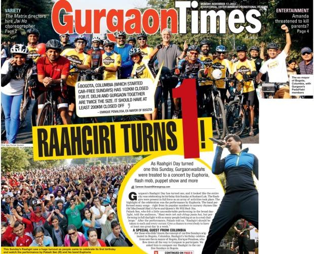 Enrique Peñalosa peñaloseando en el primer anivwrsario de Raahgiri. Imagen: Gurgaon Times